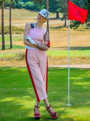 Ferrari 488 Supercar Women's Fashion Pink Suit Golf
