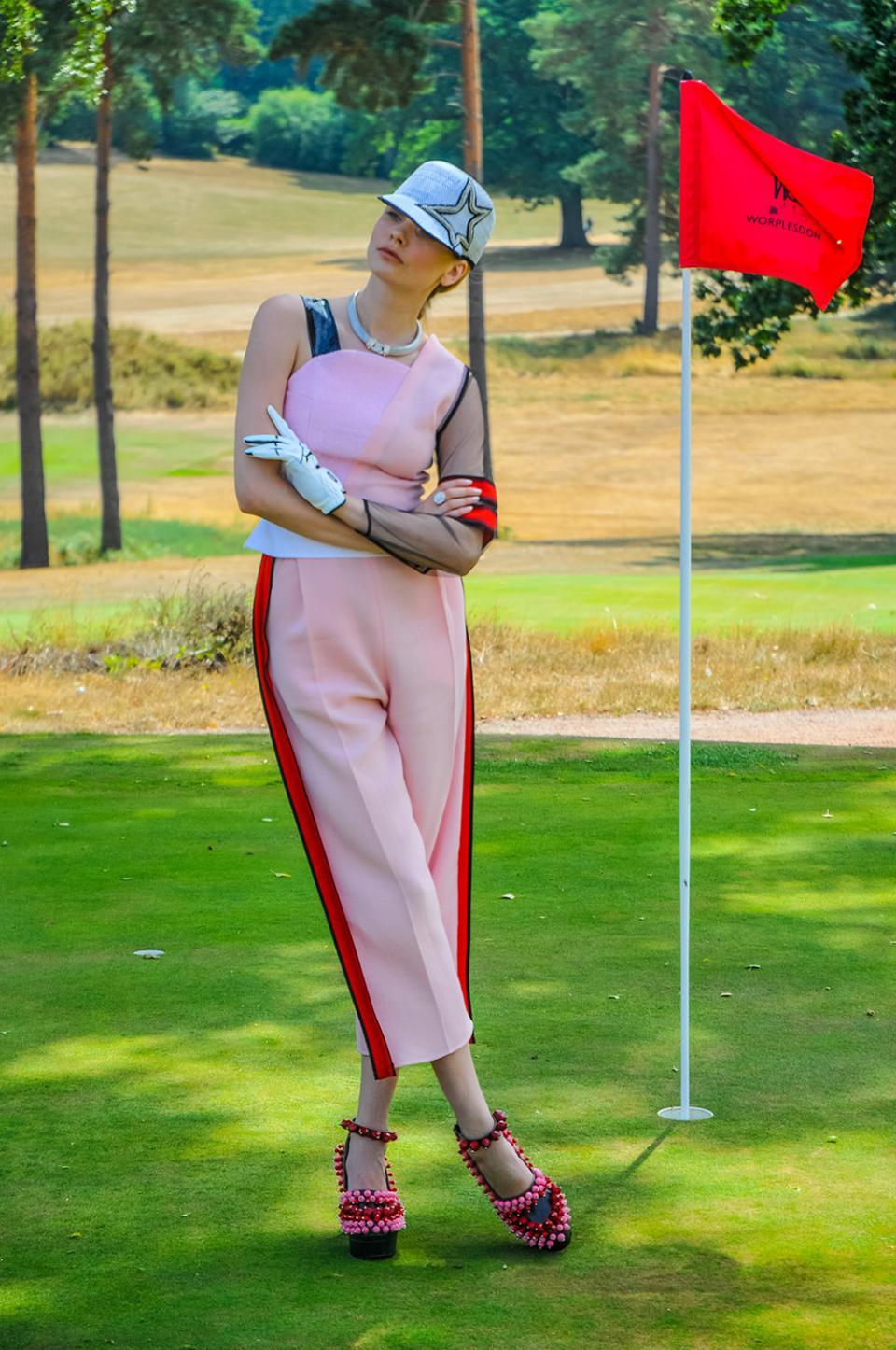 Ferrari 488 Supercar Women's Fashion Pink Suit Golf