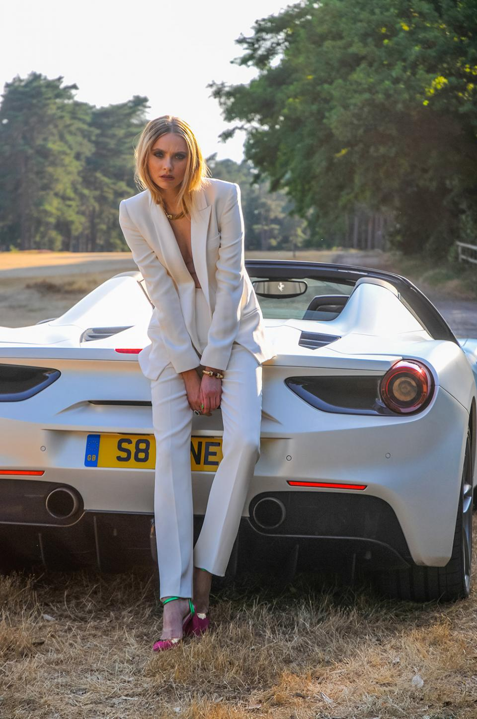 Ferrari 488 Supercar Fashion Women's Fashion White Suit